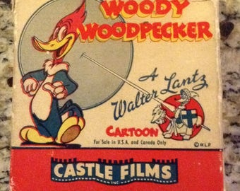 "Vintage; 16 MM Headline Edition Woody Woodpecker ""Well Oiled"" 493 by Castle Films"