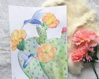 Watercolor Hummingbird + Cactus Painting