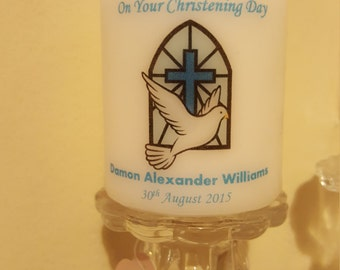 Personalised Christening Gift Candle for boy or girl or godparent thank you gift