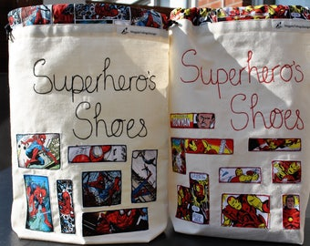 Superhero's Shoe Bag. Featuring Marvels Iron Man. Gift Idea. One Available.