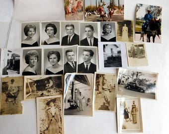 Lot of 15 Vintage Photos, from 1910s to 1960s - Baby on a Goat - Guy w/ Big Fish - Lady w/ Doves - Class Photos - Big Hair - Horses Old Car