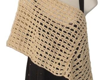 Crochet Capelet, Bridal Poncho, Spring Poncho, Wedding Poncho, Shoulder Shawl, Womens Poncho, Beige Poncho, Shoulder Cape, Crochet Spring