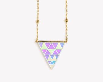 Holographic necklace etsy triangular supernova 16k gold necklace holographic necklace hipster triangle geometric pendant gold pastel mozeypictures Images