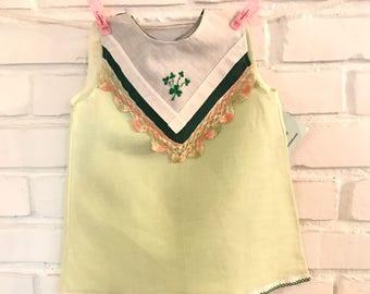 Hanky Dress for that Irish Baby! Your little leprechaun. A green cotton/linen dress adorned with vintage handkerchiefs, green shamrocks!