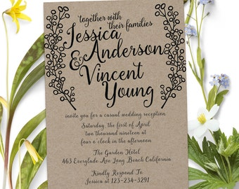 Rustic Elopement Party Invitations, Wedding Reception Cards, Printed and  Wedding Party Card#WI2