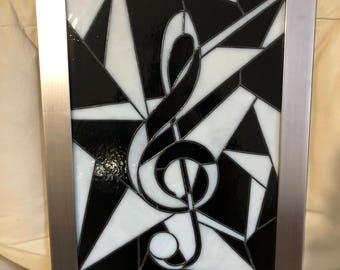 Stained Glass Music, Musical Symbol, Suncatcher Design,Handcrafted Glass Sun Catcher,Fragmented Art,Milky Stained Glass,Tiffany foil method