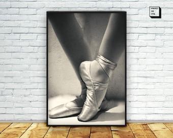 ballet photography, ballet shoes print, black and white photography, dancer poster, dancing shoes, ballet printable, ballet downloadable art