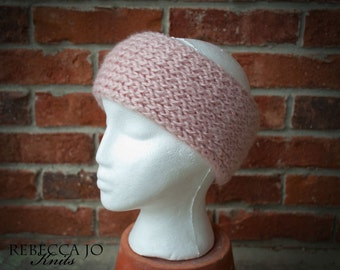Soft light pink knit headband