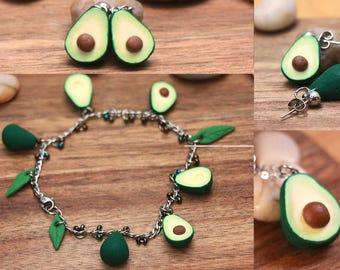 Avocado Jewelry Lot - avocado bracelet, avocado necklace, avocado earrings, fruit jewelry, food jewelry, fruit earrings