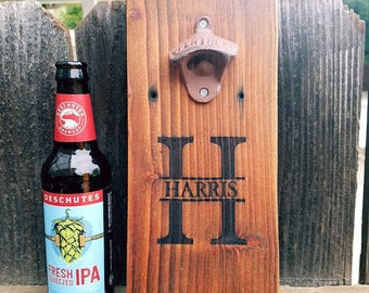 Bottle Opener -  Personalized Bottle Opener - Beer Opener - Wall Mount Opener - Gift for Him - Groomsmen Gift - Man Cave - Wall Mount