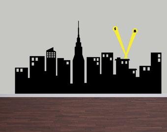 "Super Hero City, Boy Wall Decal, Super Hero Bedroom, SuperHero Skyline 72"" W"