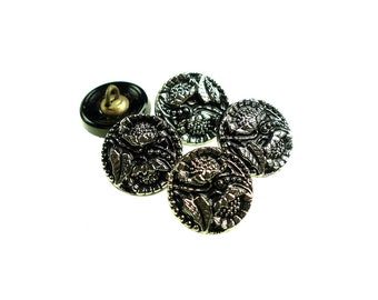 5 small black glass buttons