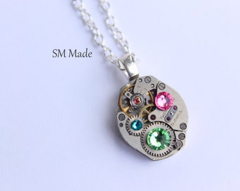 steampunk Mothers birthstone necklace - steampunk necklace custom made mothers necklace -  grandmothers necklace - birthstone necklace