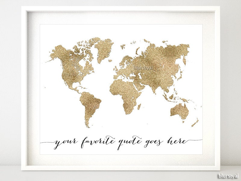 Custom quote printable world map printable gold glitter zoom gumiabroncs Images
