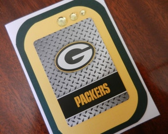 Green Bay Packers Happy Birthday Football Handmade Greeting Card for the female fan