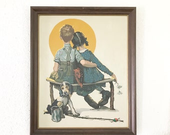 Vintage Paint by Numbers ./Norman Rockwell Puppy Love / Cottage Decor / Farmhouse