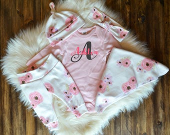 Baby Girl Coming Home Outfit, baby shower: Watercolor Floral Pants, Knot Top Headband, Knot Hat, Personalized Initial Pink Bodysuit, Swaddle