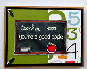 Teacher Appreciation Card, Thank You Card, Good Apple Card, School Blackboard, Teacher Gift, End Of Year, Classroom Card
