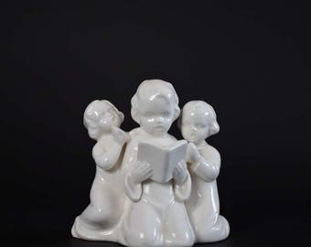 Vintage White Porcelain Praying Children Statue - Napco Ceramics Religious Figurine Statue