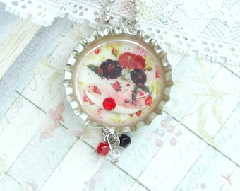 Tea Cup Necklace Victorian Necklace Bottle Cap Necklace Red And Black Flower Necklace Tea Party Gift