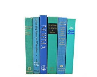 Ocean BLue Green Books, Decorative Books, Rustic Book Stack, Shabby Chic Book Set, Old Teal Book Decor, Aqua book collection Farmhouse decor