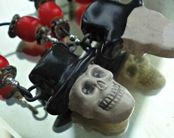 Day of the Dead Skull Top Hat Earrings
