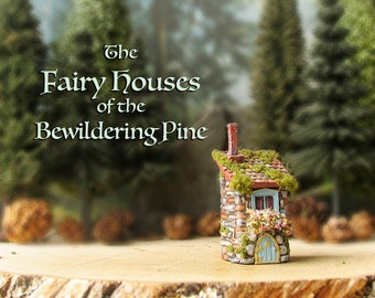 The Fairy House of the Bewildering Pine - Handcrafted Miniature Fae Cottage - Mossy Tiled Roof, Chimney, Blooming Flower Box & Arched Door