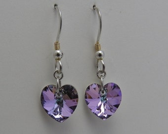 Swarovski Crystal Heart Sterling Silver Purple Pink Earrings