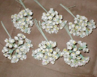 Vintage Ivory Silk forget-me-not Flowers
