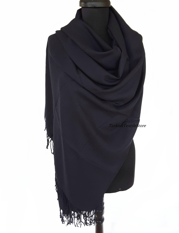 Jet Schwarz Pashmina Schal schwarzen Schal schwarz Wrap