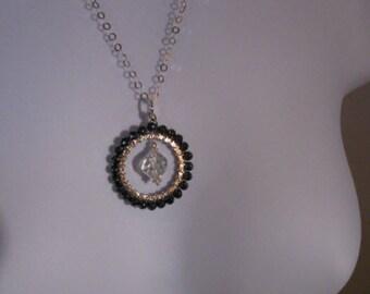 Gemstone necklace, vintage crystal necklace, silver necklace, crystal necklace, gemstone jewelry, hematite necklace, necklace