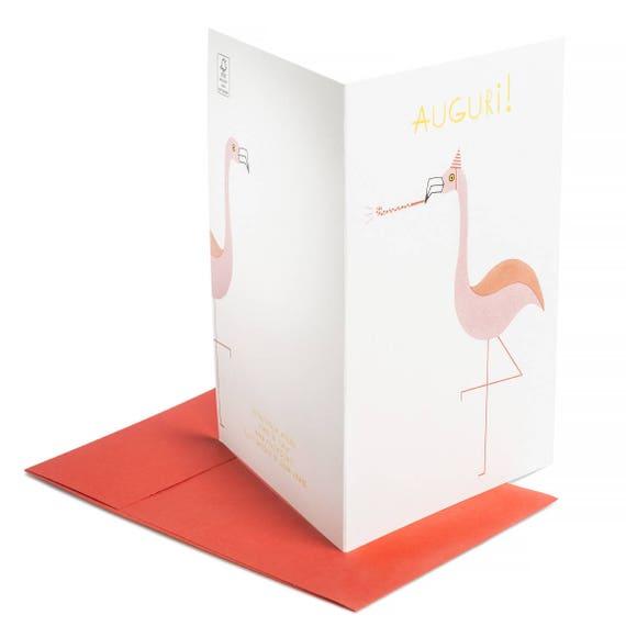 AUGURI! Biglietto buon compleanno. Festa bimbi. Invito party. Flamingo card.