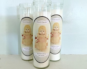 Patron Saint of Wine Candle Claudia Doll Gag Gift Sanctuary Candles 7 Day