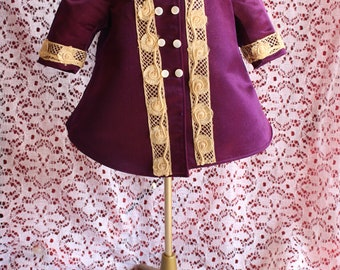 """Vintage Antique fully lined silk Doll coat~ in Royal Purple, lovley Lace work for your 14"""" -18""""  antique Bisque head dolls Seamstress made"""