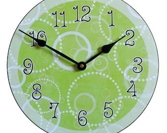 Lime Green Circles Wall Clock