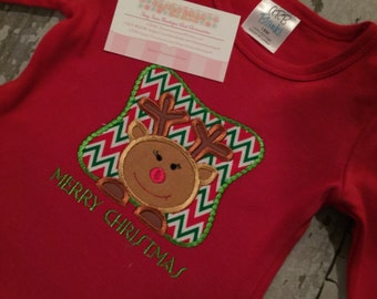 Reindeer W/ Name Embroidered Shirt (WHITE SHIRT ONLY)