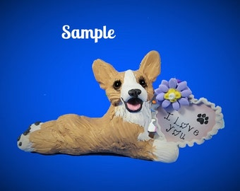 Red and White Pembroke Welsh Corgi Dog  I LOVE YOU heart sculpture Polymer Clay art by Sally's Bits of Clay