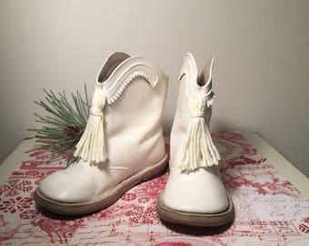 Vintage White Leather Child's Majorette/Dance/Color Guard Boots