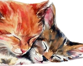 Two kittens ginger and tabby sleeping watercolor cat MATTE ART PRINT