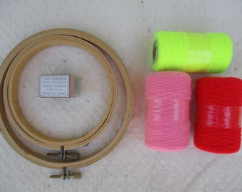 """Embroidery Hoops Wood  4"""" and 5"""" Set of 2 Round, Punch Needle Yarns, Nap Raiser for Fluffy Embroidery Needlework, Needlecraft"""