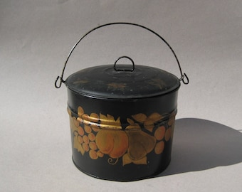 Vintage Tole Painted Metal Pail Black & Gold Fruit Motif Toleware Bucket with Lid Farmhouse Decor Folk Art Americana