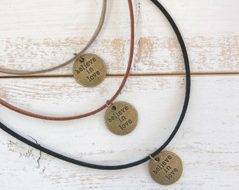 Faux Suede Choker with Charm