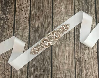White wedding sash, rhinestone wedding sash, all white sash, wedding belt, simple wedding sash, white sash
