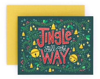 Jingle All the Way   Christmas Holiday Greeting Card   Hand Lettered   Green   A2   Made in USA   GC032