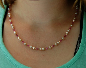 Kayla - Stunning OOAK Freshwater Pearl and Sapphire necklace with 14kt gold accents, jewelry, unique, gift for her, pearl necklace, unique