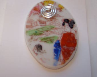 Necklace w/ pendant made of Japan 1950s china shard recycled, pretty !!
