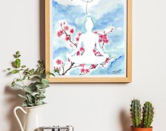 Post yoga art illustration 20 x 30 cm - cherry blossoms - cherry blossom botanic Print
