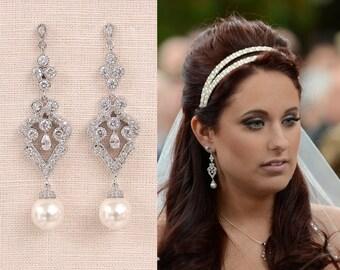 Vintage Pearl Bridal Earrings, Long Wedding Earrings, Swarovski Pearl Crystal wedding jewelry, Rhinestone  Faith Bridal Earrings