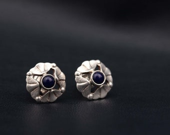 RESERVED! Silver stud earings. Blue cabochons earrings. Moernist silver earrings. Sterling silver earrings Gift for her Gift for woman 1980s