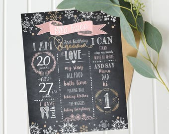 Winter Onederland Chalkboard, Winter Onederland Birthday Chalkboard Sign, Winter Birthday Chalkboard, First Birthday Chalkboard - Digital